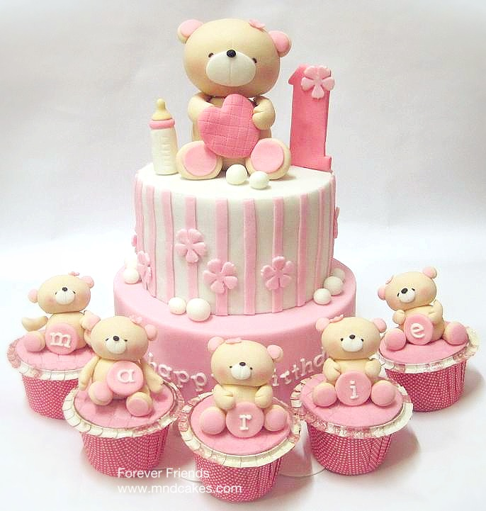 Cake Design Teddy Bear : Birthday party idea   DIY with cupcakes, party bags with ...